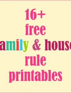 Professional Household Rules Template Word Sample