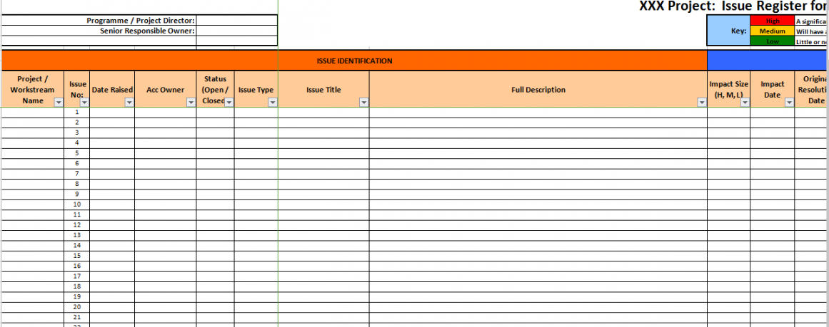 sample generic issue log project management issues log template word