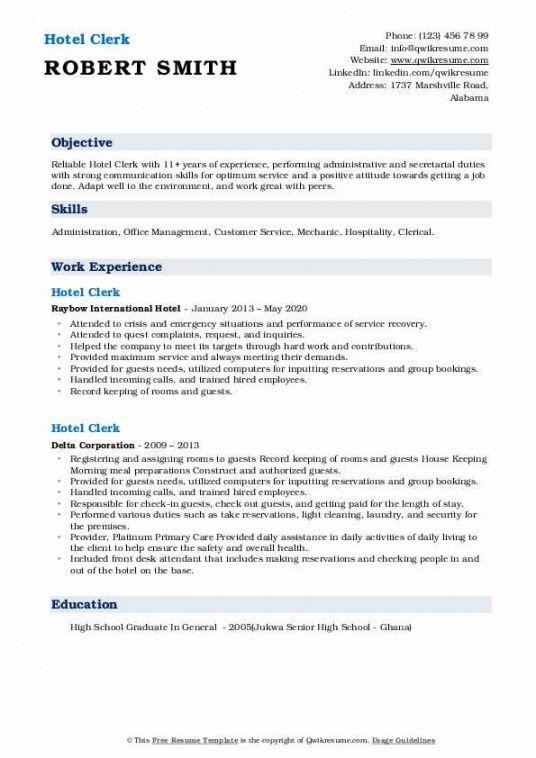 sample hotel clerk resume samples  qwikresume hotel crisis management plan template excel