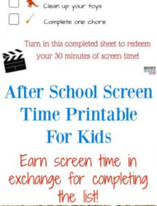 Printable Screen Time Rules Template Excel Example