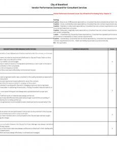 editable example vendor performance scorecard template  pdf format vendor management scorecard template pdf