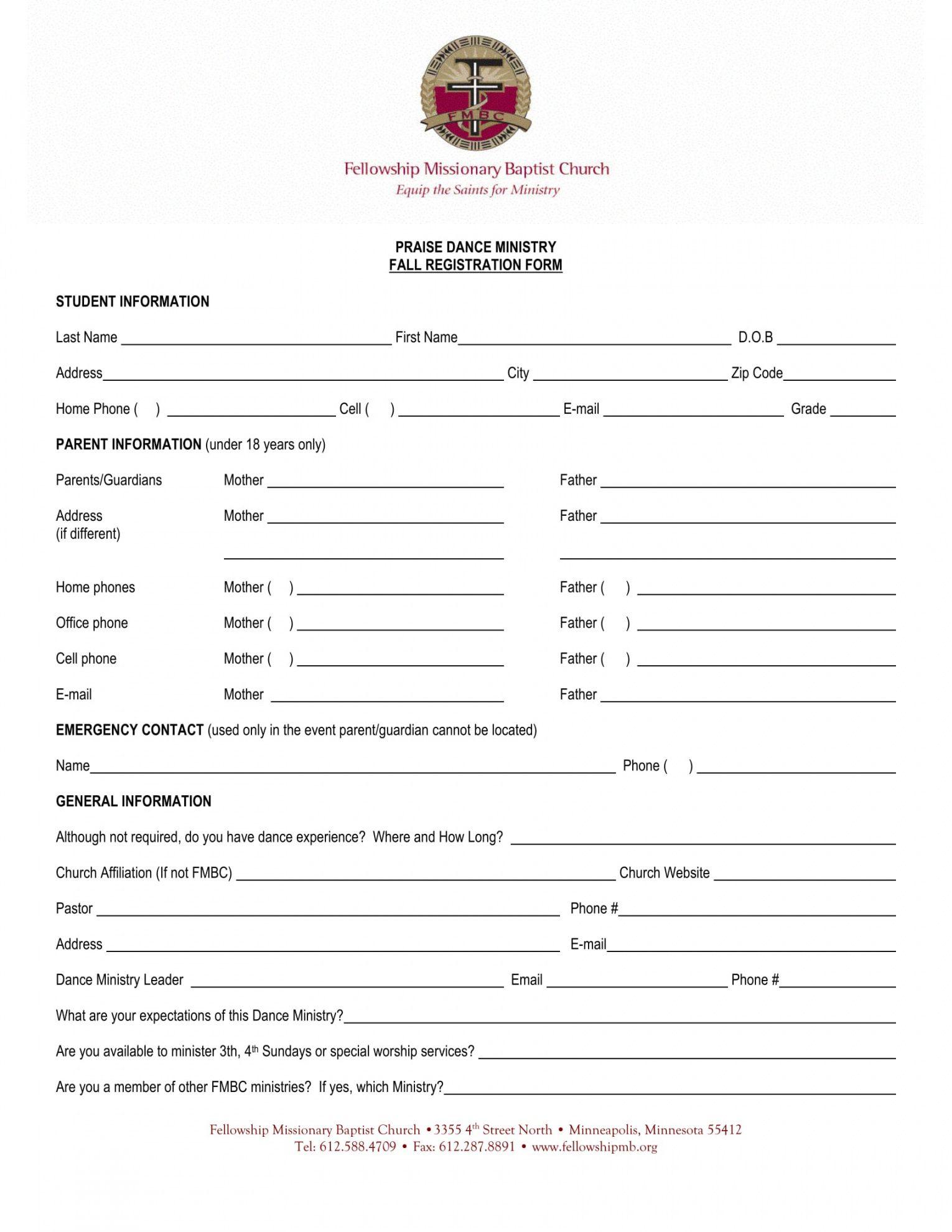 free 12 dance registration forms in pdf pdf  ms word  excel dance program proposal template pdf