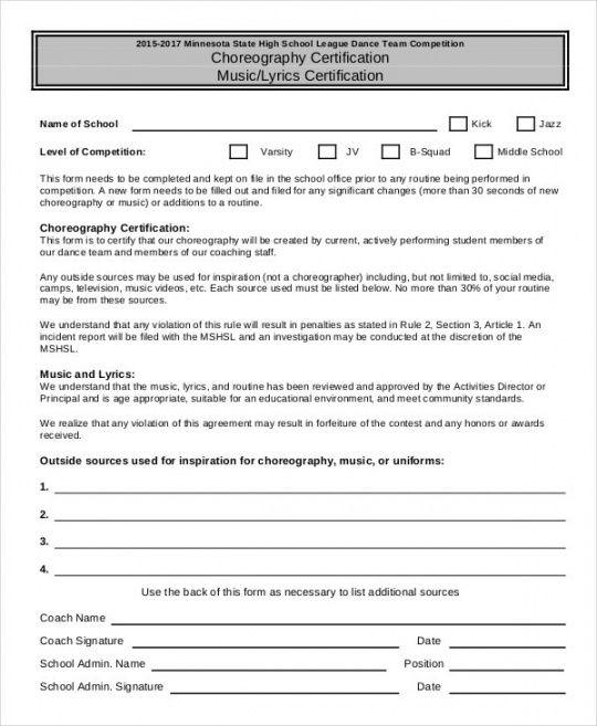 sample 13 dance certificate templates  free printable word dance program proposal template word
