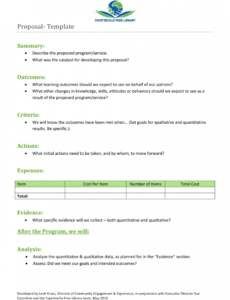 sample proposal template  fayetteville free library download recreation program proposal template excel