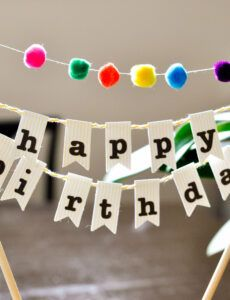 editable diy birthday cake banner with pompoms party banner template doc