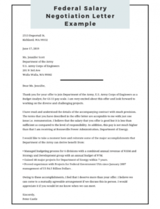 printable federal salary negotiation letter example  federal resume federal government proposal template