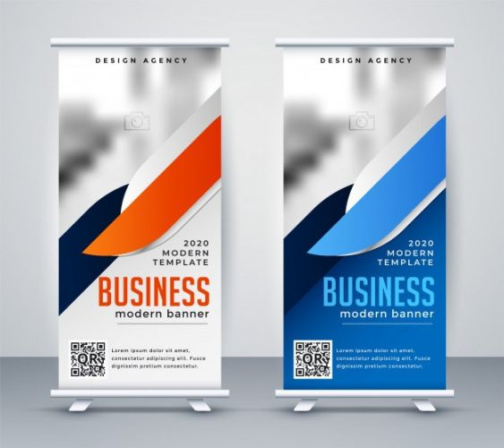 printable modern business roll up banner design template  free vector pull up banner design template