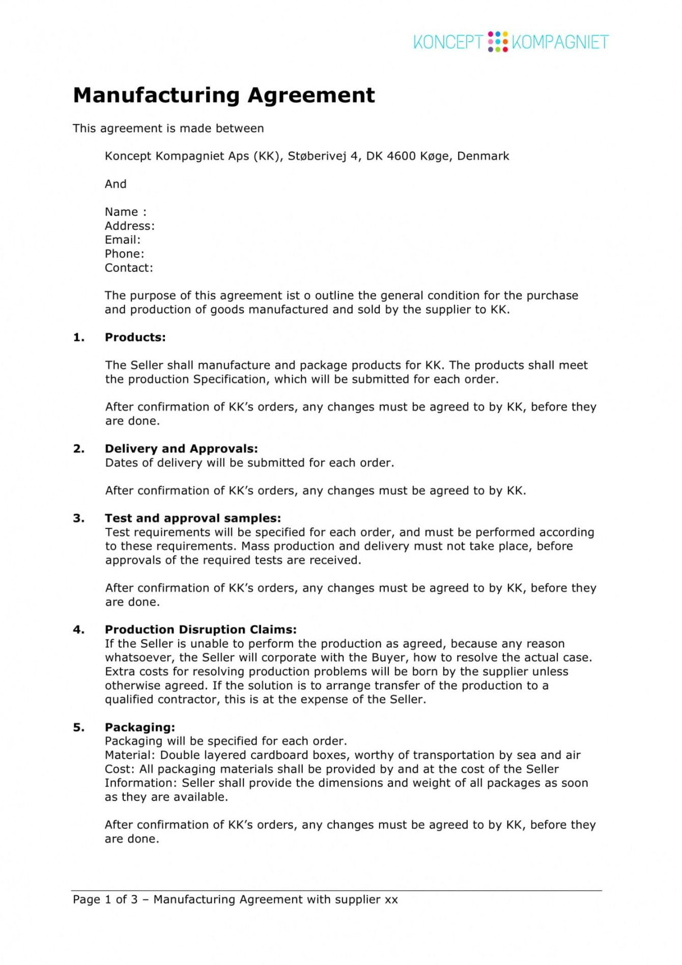 sample contract manufacturing proposal template proposal contract template word