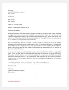 sample transportation proposal letter to office  proposal templates transportation proposal template excel
