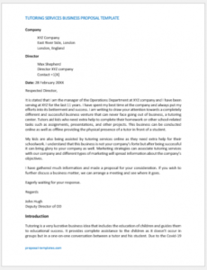 editable proposal follow up letter sample  proposal templates tutoring proposal template doc