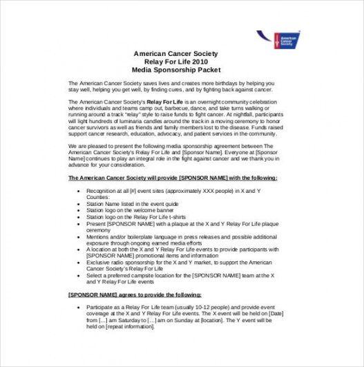 free 16 sponsorship agreement templates  free sample example media sponsorship proposal template example