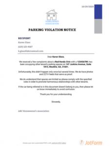 parking violation notice template  pdf templates  jotform parking proposal template