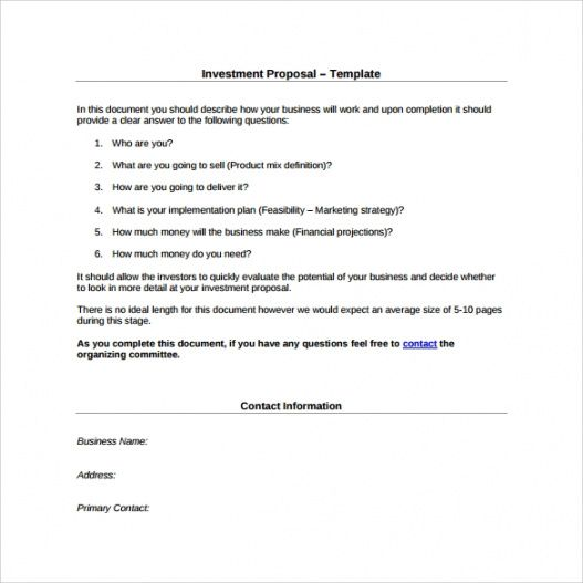 printable free 24 sample investment proposals in pdf  ms word sample investment proposal template excel