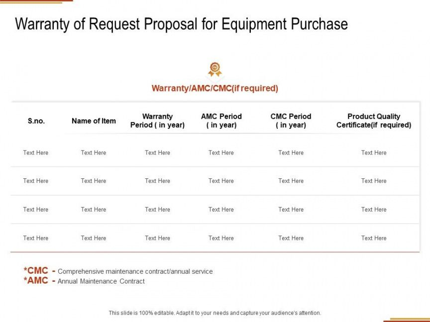 printable warranty of request proposal for equipment purchase ppt equipment request proposal template word