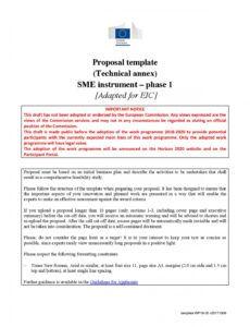 sample eic pilot sme instrument phase 1  proposal template  kol pilot project proposal template excel